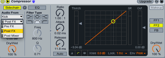 Ableton Live Side Chain Source Options