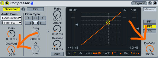 Ableton Live Side Chain Compressor Dry Wet Knobs