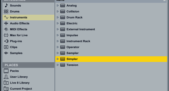 Loading Ableton Default Simpler